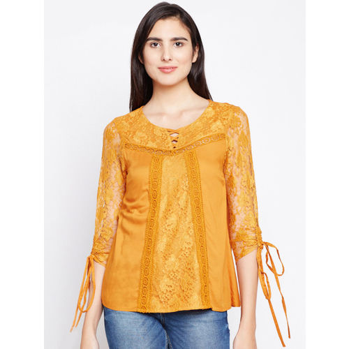 Oxolloxo Women Yellow Self Design A-Line Top