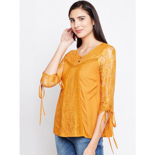Oxolloxo Women Yellow Self Design A-Line Top