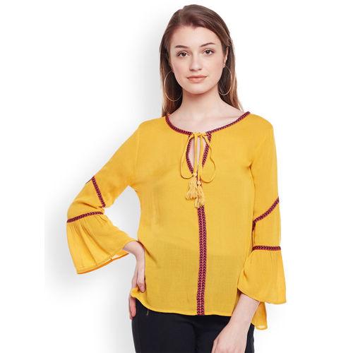 Oxolloxo Women Yellow Solid Top
