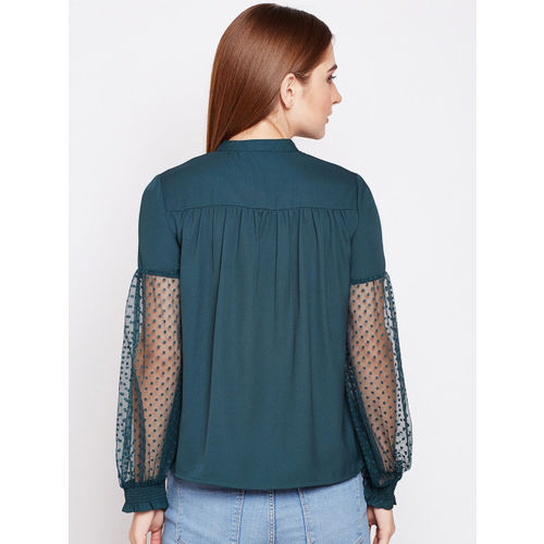 Oxolloxo Women Teal Green Solid Top