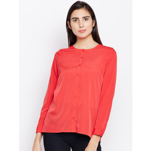 Oxolloxo Women Red Regular Fit Solid Casual Shirt