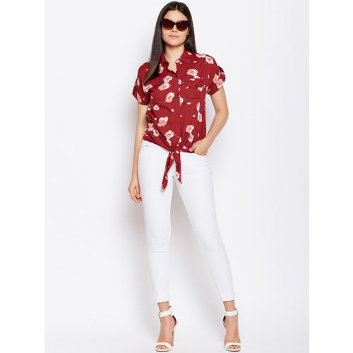 Oxolloxo Women Red Regular Fit Printed Casual Shirt