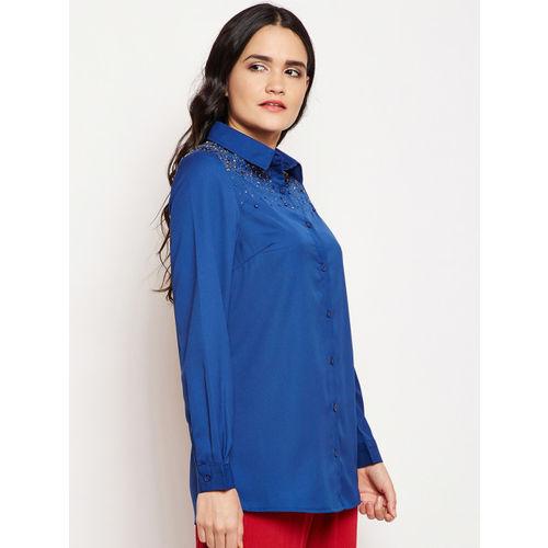 Oxolloxo Women Blue Regular Fit Solid Casual Shirt