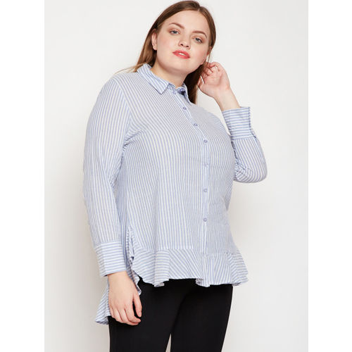 Oxolloxo Women Blue Regular Fit Striped Casual Shirt