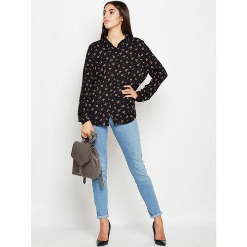 Oxolloxo Women Black & Pink Regular Fit Printed Casual Shirt