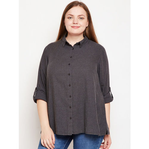 Oxolloxo Women Black Regular Fit Solid Casual Shirt