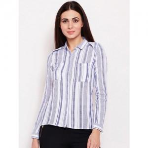 Oxolloxo Women White & Blue Regular Fit Striped Casual Shirt