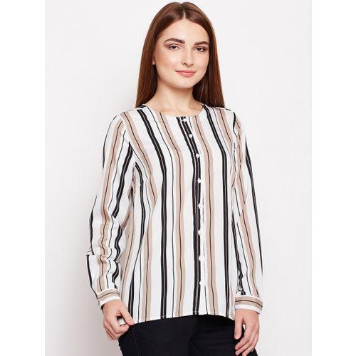 Oxolloxo Women White & Black Regular Fit Striped Casual Shirt
