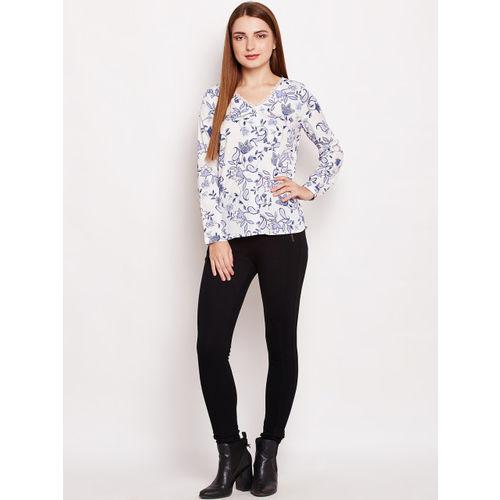 Oxolloxo Women White Regular Fit Printed Casual Shirt