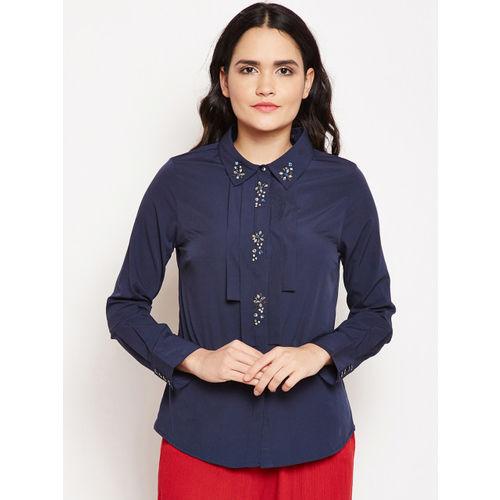 Oxolloxo Women Navy Blue Regular Fit Solid Casual Shirt