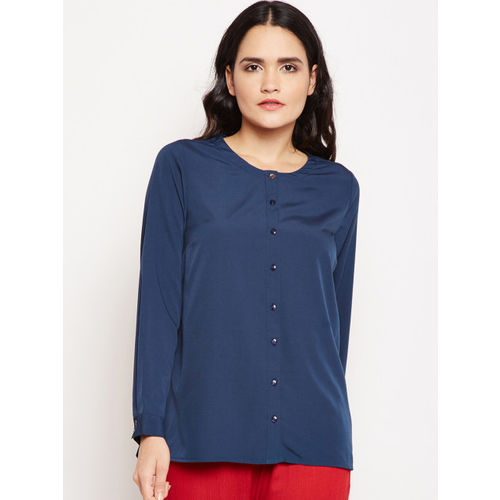 Oxolloxo Women Navy Blue Regular Fit Solid Casual Shirt