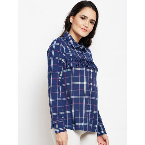 Oxolloxo Women Blue-Coloured Regular Fit Checked Casual Shirt
