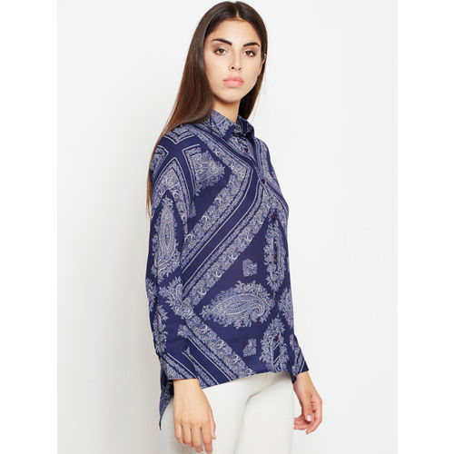 Oxolloxo Women Blue Regular Fit Printed Casual Shirt