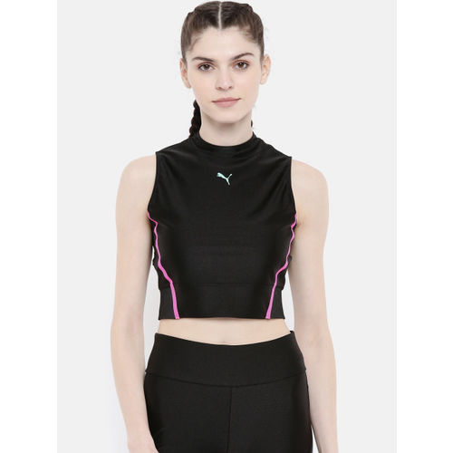 Puma Women Black Chase Top Printed Sports Top