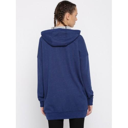Puma Blue Solid Hooded Longline Sweatshirt