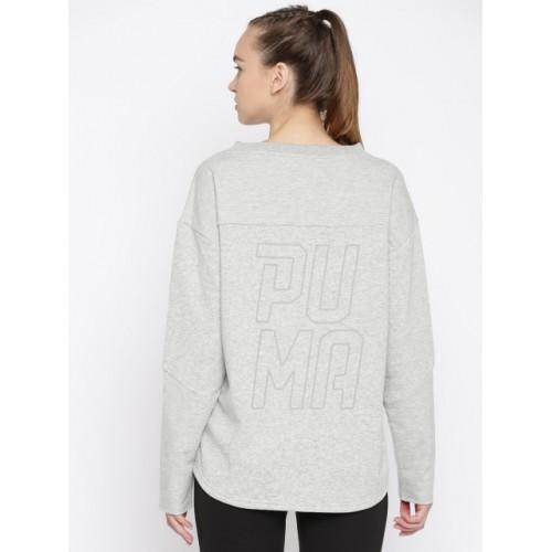 Puma Grey Melange Printed Crew Sweatshirt