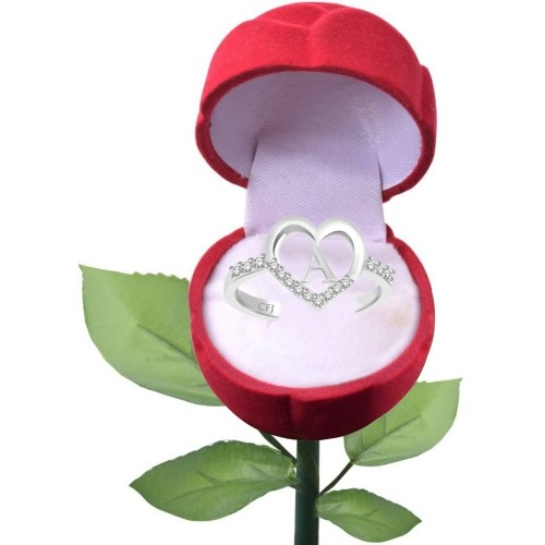 Classic Attractive 'A' Heart with Rose Alloy, Brass Cubic Zirconia Rhodium Plated Ring
