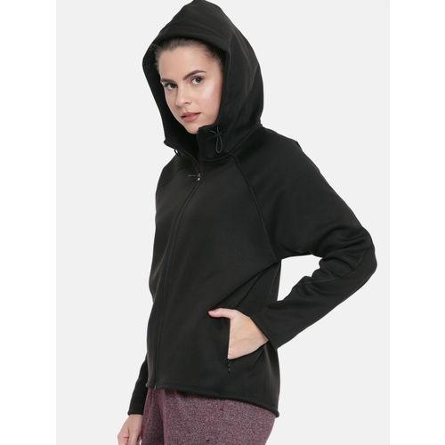 Puma Women Black Solid Regular Fit warmCELL Evostripe FZ Hooded Sweatshirt