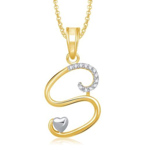 Amaal Jewellery Gold Valentine Gift Letter 'S' Alphabet Heart Pendant For Girls Women Lover Men Girlfriend Boyfriend Unisex Pendant Chain Jewellery set -PS0326