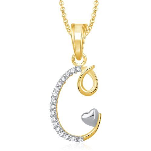 Divastri Valentine Gift Alphabet Letter C Necklace Pendants Chain Heart Pendant for Girls Boys Women Mens Gold-plated Cubic Zirconia, Diamond Alloy, Stone Pendant