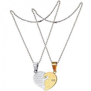 5001a51704 Shiv Jagdamba Love His and Hers Couples Gift Heart Pendant Necklace Set for  Lover Valentine (