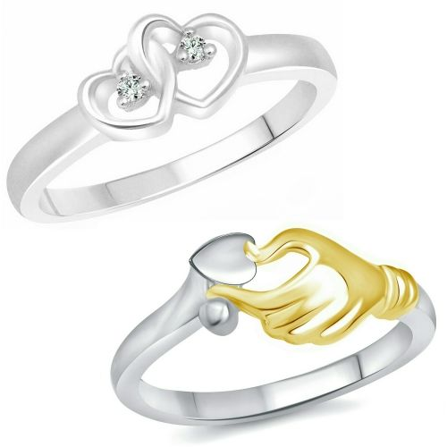 Vighnaharta Valentine Love Gift Combo Rings for Women and Girls [1047FRR-1117FRR] Alloy Cubic Zirconia Gold Plated Ring Set