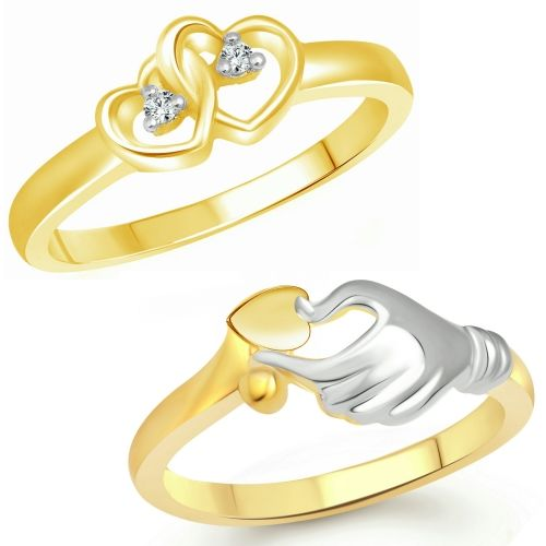 Vighnaharta Valentine Love Gift Combo Rings for Women and Girls [1047FRG-1082FRG] Alloy Cubic Zirconia Gold Plated Ring Set