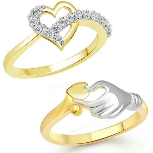 Vighnaharta Valentine Heart Gift Combo Rings for Women and Girls [1076FRG-1082FRG] Alloy Cubic Zirconia Gold Plated Ring Set