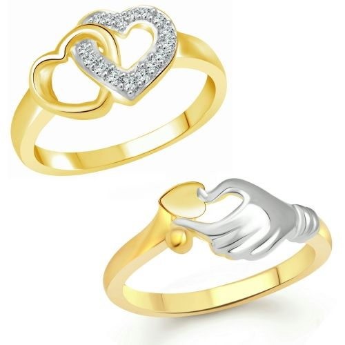 Vighnaharta Valentine Best Gift Combo Rings for Women and Girls [1050FRG-1082FRG] Alloy Cubic Zirconia Gold Plated Ring Set