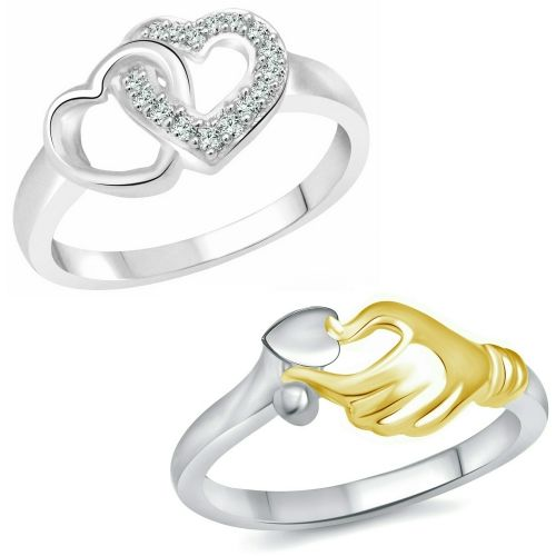 Vighnaharta Valentine Best Gift Combo Rings for Women and Girls [1050FRR-1117FRR] Alloy Cubic Zirconia Gold Plated Ring Set