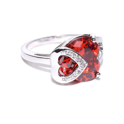 Jewels Galaxy Orange Platinum-Plated Silver Stone-Studded Silver Ring