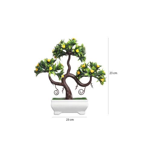 FOLIYAJ Green & Yellow Artificial Plant With White Pot