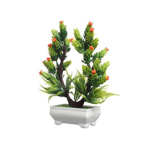 FOLIYAJ Green & Orange Artificial Plant With White Pot