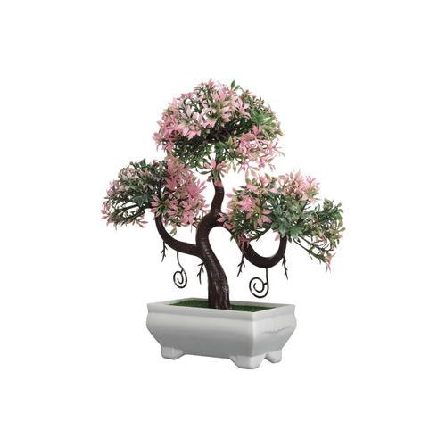 FOLIYAJ Green & Pink Artificial Bonsai Plant