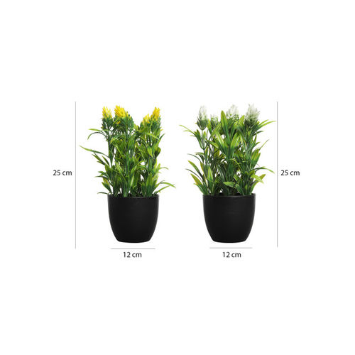 FOLIYAJ Set of 2 Green & Yellow Artificial Plant With Pot