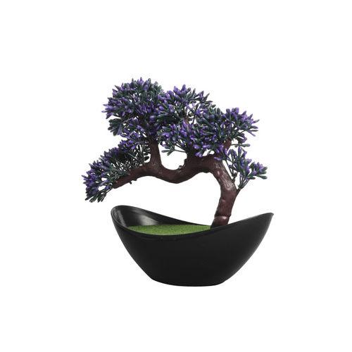 FOLIYAJ Green & Purple Artificial Plant With Black Pot