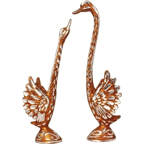 Art N Hub Fengshui Romantic Swan Couple Pair - White Metal Silver Plated Handicraft Decorative Home Interior & Table Dcor Vastu Figurine / Valentine Gift item