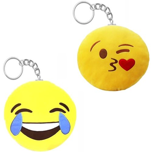 valentine Gift for Girlfriend Cute Love Smiley Keychain Soft Toy- Set of 2 Key Chain
