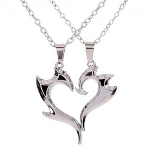 19 Likes Couple Heart Pendant Silver Alloy Chain For Women