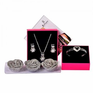 IGP Rose Candle Set with Designer Floral Design CZ Stone Embellished Fashion Pendant Necklace and Earrings Set with Heart Design Bangle Bracelet