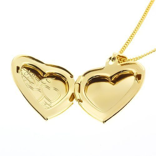 Memoir Gold-Plated Heartshape Photo Momento Locket Necklace For Women & Men