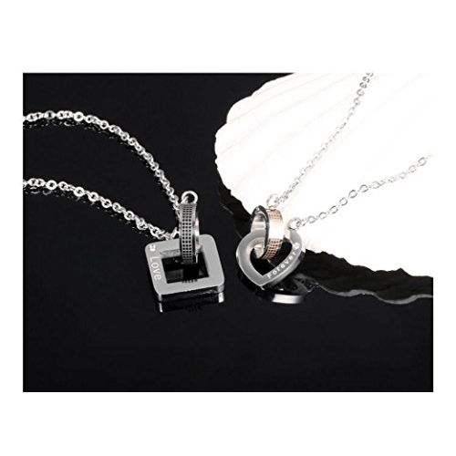 Sansar India Titanium Stainless Steel Engagement Valentine Couple Lovers Pendant Necklace for Men and Women
