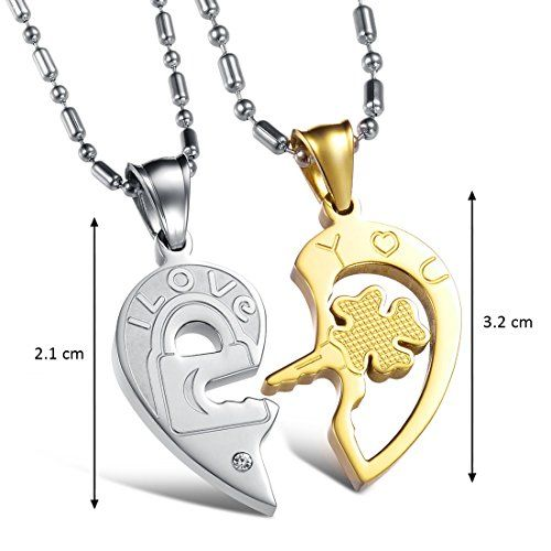 Peora Silver-Gold Lovers Heart Two Piece Couple Pendant Pair for Girls and Boys Love You Inscribed Lock and Key