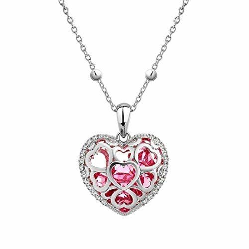 Yellow Chimes Crystals from Swarovski Heart Pendant for Women (Pink) (YCSWPD-0380HRT-RD)