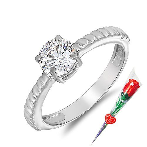 Mahi Motion Finger Ring Made with Swarovski Zirconia with Rose Stick for Women FR5105010RCSt