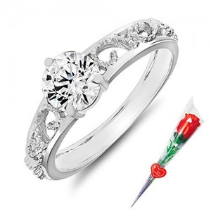 Mahi Remarkable Solitaire Finger Ring Made with Swarovski Zirconia with Rose Stick for Women FR5105004RCSt
