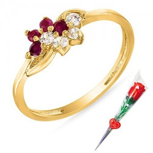 e84033488 Mahi Ruby & CZ with Rose Stick Fashion Finger Ring for Women FR5100314GCSt