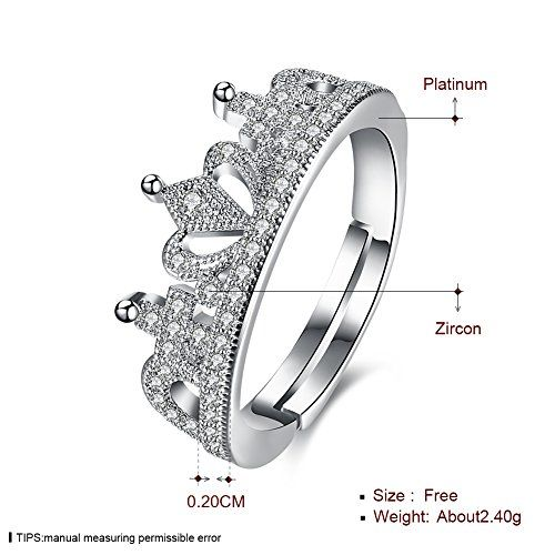 Yellow Chimes A5 Grade Crystal The Royal Crown 925 Sterling Silver Plated Ring for Women and Girls (Silver)(YCFJRG-946C8-SL)