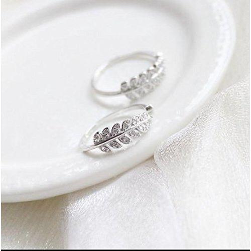 Karatcart Silver Platinum Plated Elegant Austrian Crystal Adjustable Leaf Ring For Women's