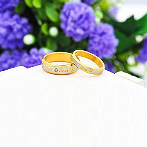Peora Love Forever Inscribed Gold Plated Proposal Couple Rings for Men and Women